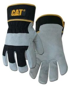 CAT Premium Grey/Black Leather Palm Work Gloves - Large by Caterpillar Black Leather Gloves, Grey Leather, Cowhide Leather, Portable Toddler Bed, Cat Logo, Work Gloves, Gardening Gloves, Caterpillar, Snug Fit