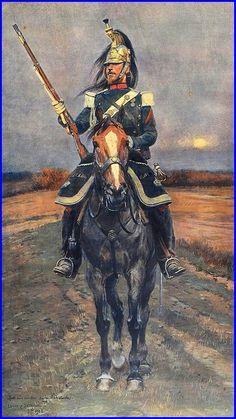 Jean Baptiste Édouard Detaille 1848-1912 France Dragon de la garde impériale, Second Empire Lithographie,