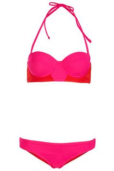 TOPSHOP Red Colourblock Bikini
