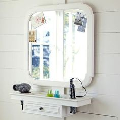 great space for hair and make up without taking up the floor space of a chest with a mirror