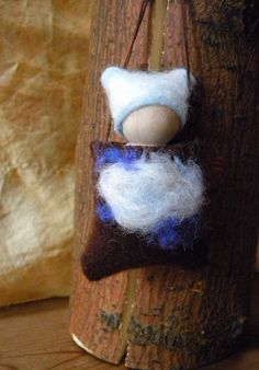 Waldorf Gnome, Waldorf Peg Doll, Air Element, blue, white, sky, clouds, Wind, pouch pal. $25.00, via Etsy.