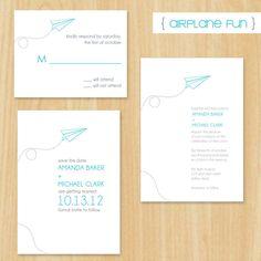 Airplane Fun- Wedding Set - Invitation, Save the Date and RSVP (DIY Printable) MadeByBree