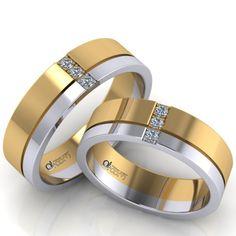 Cele doua benzi de nunta au finisaje lucioase si sunt incrustate cu un santulet dreptunghiular, asezat orizontal pe verigheta de dama, format din trei pietricele de zirconiu sau diamant, de 1.75 mm. Rings For Men, Wedding Rings, Engagement Rings, Jewelry, Women, Rings, Enagement Rings, Men Rings, Jewlery