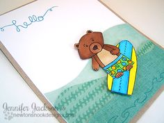 Surfing Bear Card by Jenifer Jackson using  Beach Party Stamp set | Newton's Nook Designs