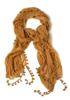 Pom and Dance Scarf in Mustard, #ModCloth