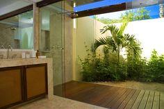 Indoor/outdoor bathroom and shower