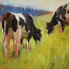 "Daily Paintworks - ""Cows Grazing"" - Original Fine Art for Sale - © Carol Marine"