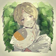 Natsume and Nyanko-sensei #hug #closeup