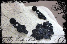 Christmas In November Sale Black Lace and Crochet Necklace #myprettybabi, $21.75 @Etsy @Etsy Christmas In July @Meylah.com #handmade #crochet