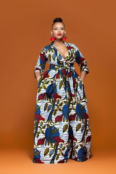 A stunning example of handmade African fashion, the Zinnia maxi dress is bold, beautiful and perfect for showing off your curves. African Print Dresses, African Wear, African Attire, African Fashion Dresses, African Dress, Fashion Outfits, African Style, African Prints, Fashion Styles