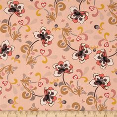 Art Gallery Rock'n Romance Rebel Cherie Kisses from @fabricdotcom  Designed by Pat Bravo for Art Gallery Fabrics, this cotton print is perfect for quilting, apparel and home decor accents.  Colors include blush, cream, warm brown, mustard, grey, and peach.  Art Gallery Fabric features 200 thread count of finely woven cotton.