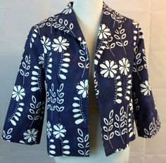 Painted Pony Women Jacket Blazer Sz Large Blue White Flowers Lined USA Cotton #PaintedPony #BlazerJacket #Casual