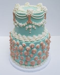 Penis and Boob Cake  Piped buttercream cake for a gallery fund raiser. Took my inspiration from America bachlorette cakes and over-piping. Teal base with tan skin tone.