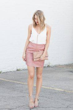 Pink leather mini skirt | Love, Lenore