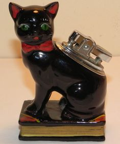 cat lighters | Antiques Atlas - Vintage 1940s Black Cat Novelty Table Lighter
