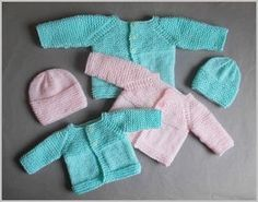 Premature Baby Sets - Keep the little ones in your life warm with these Premature Baby Sets. These adorable free knitting patterns for babies are perfect  last minute homemade gifts for the newborn that could not wait to enter the world. Created with a combination of garter stitch and stockinette stitch, these easy knitting patterns are great for new knitters. Each set consists of a knit baby hat and cardigan, keeping your baby extra cute and cozy.