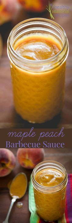 maple peach barbecue sauce - Healthy Seasonal Recipes - tripled and used 1 chipotle im adobo. Sauce Barbecue, Barbecue Recipes, Grilling Recipes, Bbq Sauces, Vegetarian Grilling, Barbecue Ribs, Healthy Grilling, Smoker Recipes, Vegetarian Food