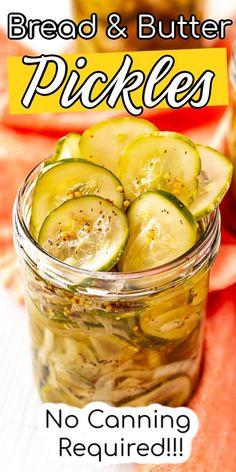 Bread N Butter Pickle Recipe, Bread & Butter Pickles, Homemade Bread And Butter Pickles Recipe, Easy Pickle Recipe, Home Canning Recipes, Cooking Recipes, Canning Tips, Cucumber Recipes, Jelly Recipes