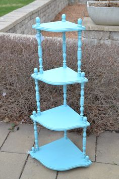 "4-tier ""what not"" shelf chalk painted in teal. The piece has been distressed and clear wax sealed. $70. Pick-up in Oakville, ON. Contact us for details. Funky Furniture, Repurposed Furniture, Painted Furniture, Furniture Ideas, Painted Side Tables, Art Projects, Projects To Try, Decorating Ideas, Craft Ideas"