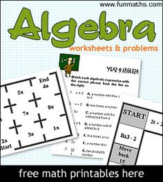 Algebra worksheets and problems for high school students and teachers. Algebra Worksheets, Algebra Activities, Maths Algebra, Math Resources, Algebra Projects, Calculus, Numeracy, High School Algebra, High School Students