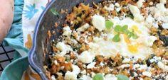 California Sweetpotato Hash {Greek Style} with Feta and Eggs
