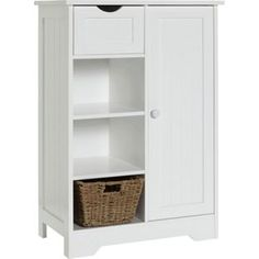 Buy HOME Shaker Slimline Hall Storage Unit with Cupboard - White at Argos.co.uk…