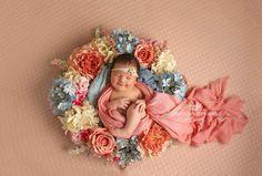 Newborn, newborn photography, newborn flower wreath, newborn flowers