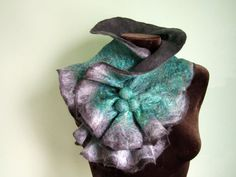 Felted wool Scarf Neckpiece Collar. Shibori gray & green  This scarf is made of wool in a dark grey color through a wet felting process. Scarf is