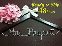 Wedding Hanger   Personalize Bridal Hanger, Name Hanger, Wedding Hanger, Custom Hanger, Mrs. Hanger, Name Wire Hanger, Bridal Party Hanger $16.00