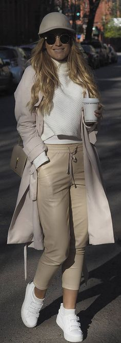 Nude Leather Pants Outfit Idea