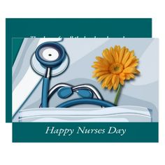 Happy Nurses Day Flat Greeting Cards with personalized greeting. Matching Cards  postage stamps, and other products available in the Business Related Holidays / Healthcare Category of the artofmairin store at zazzle.com
