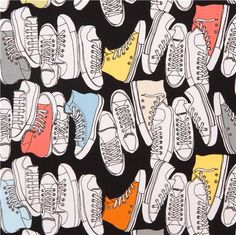Coton Quilt Fabric Geeky Chic Hightop Sneaker Retro Fabric Blake - product images of Cotton Quilts, Cotton Fabric, Retro Fabric, Textiles, Retro Sneakers, Riley Blake, Fabric Bags, Black Cotton, Black