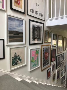 My staircase gallery wall. Eclectic Gallery Wall, Gallery Wall Layout, Gallery Wall Frames, Frames On Wall, Gallery Walls, Gallery Wall Staircase, Stair Gallery, Staircase Frames, Stair Photo Walls