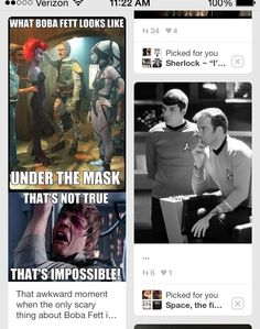 This happened on my Pinterest page, even Kirk and Spock are confused by Boba Fett!!!! :)