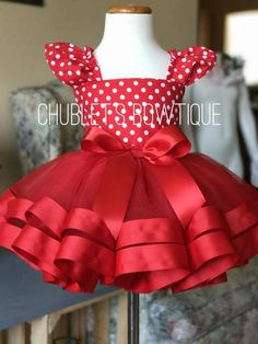 Minnie mouse inspired tutu outfit red tutupolka dots etsy leakage shoulder bowknot blouse coat denim short skirt new fresh wind sweeet girl 2 pcs set clothing women outfit vestido Baby Girl Birthday Dress, Birthday Tutu, Birthday Dresses, Little Girl Dresses, Baby Dress, Baby Girl Halloween, Toddler Halloween, Tutu Outfits, Toddler Outfits