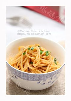 【Spaghetti in balsamic and scallion sauce】 by MaomaoMom  This cold noodle dish is ideal to serve at any summer backyard party. The sauce is made with soy sauce, balsamic vinegar, honey, sesame oil, chilli oil, minced ginger and scallion, very tasty.