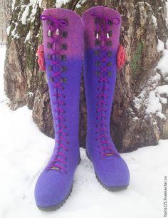 """Валяные сапоги-ботфорты """"Фуксия"""" - фиолетовый,валяные сапоги,валяные ботфорты"""