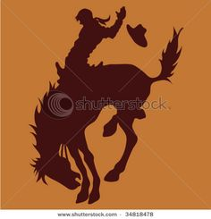 Tinkerbell silhouette rider cowboy wall decal custom for Cowboy silhouette tattoo