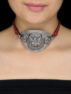 Buy Brown Thread Silver Armlet cum Necklace with Lord Krishna Motif Online at Jaypore.com