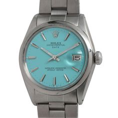 Rolex Stainless Steel Date Wristwatch circa 1969 with Custom Turquoise Blue Dial | From a unique collection of vintage wrist watches at http://www.1stdibs.com/jewelry/watches/wrist-watches/