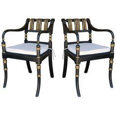 Pair Anglo Indian Regency Style Armchairs | From a unique collection of antique and modern armchairs at https://www.1stdibs.com/furniture/seating/armchairs/