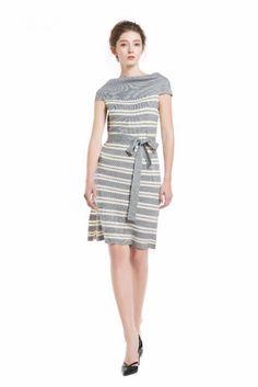 Knitbest Women's Sleeveless Off Shoulder Waist Tie Striped Dress Knit Sweater Dress, Jumper, Striped Dress, Knitwear, Dresses For Work, Tie, Knitting, Shoulder, Sweaters