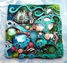 Mosaic Art Mozaik Korallzátony Tropical Fish és csikóhal Suncatcher OOAK.by MandarinMoon on Etsy