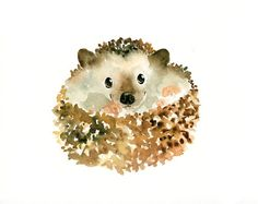 SO CUTE!!! HEDGEHOG Original watercolor painting 10X8inch