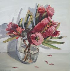 Jane Guthleben, Bottlebrush From Up the Street, 2017, Oil on Board, 30 x 30 cm, .M Contemporary, Art Gallery, 37 Ocean St, Woollahra, NSW, enquire at gallery@mcontemp.com