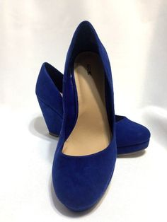 Blue Suede Shoes. Wedge Heel. Size 7
