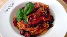 Spaghetti alla Puttanesca. New recipes are posted all the time, so be sure to subscribe to her YouTube channel and check out all of her other recipes!
