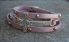 Leather Wrap Cross Bracelet Pink by StringofLove on Etsy, $22.00