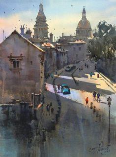 Prafull Sawant Watercolor Sketch, Watercolor Landscape, Landscape Paintings, Watercolor Paintings, Watercolors, Landscapes, Indian Art Paintings, Creative Art, Sketches