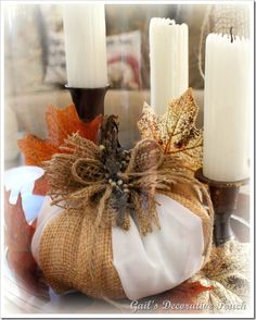fabric and burlap pumpkin